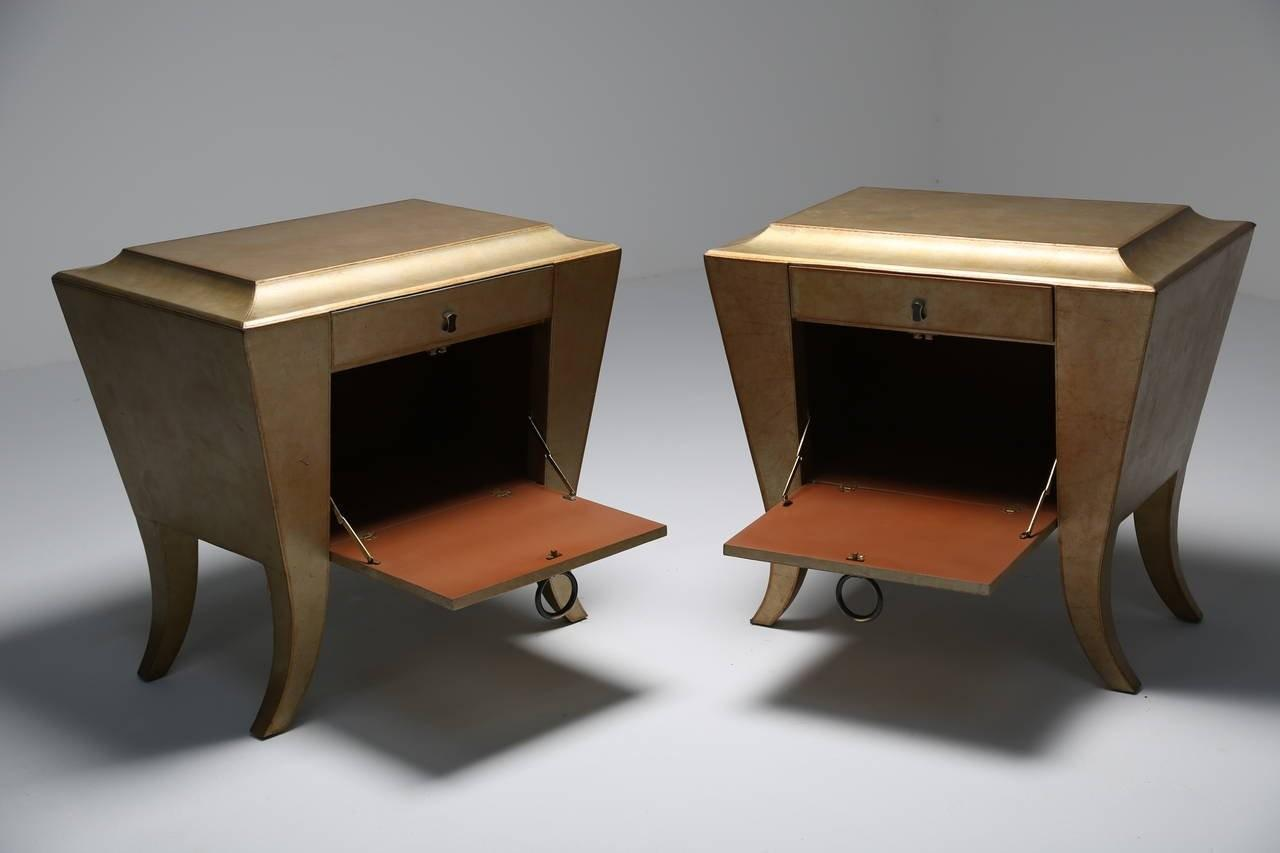 Pair Gold Leather Covered Bedside Cabinets Night