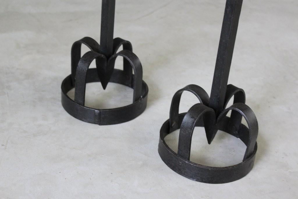 Pair Gothic Style Iron Candle Holders