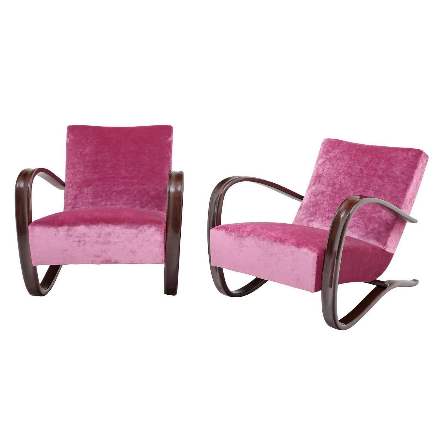 Pair Halaballa Lounge Chairs Czechoslovakia Circa