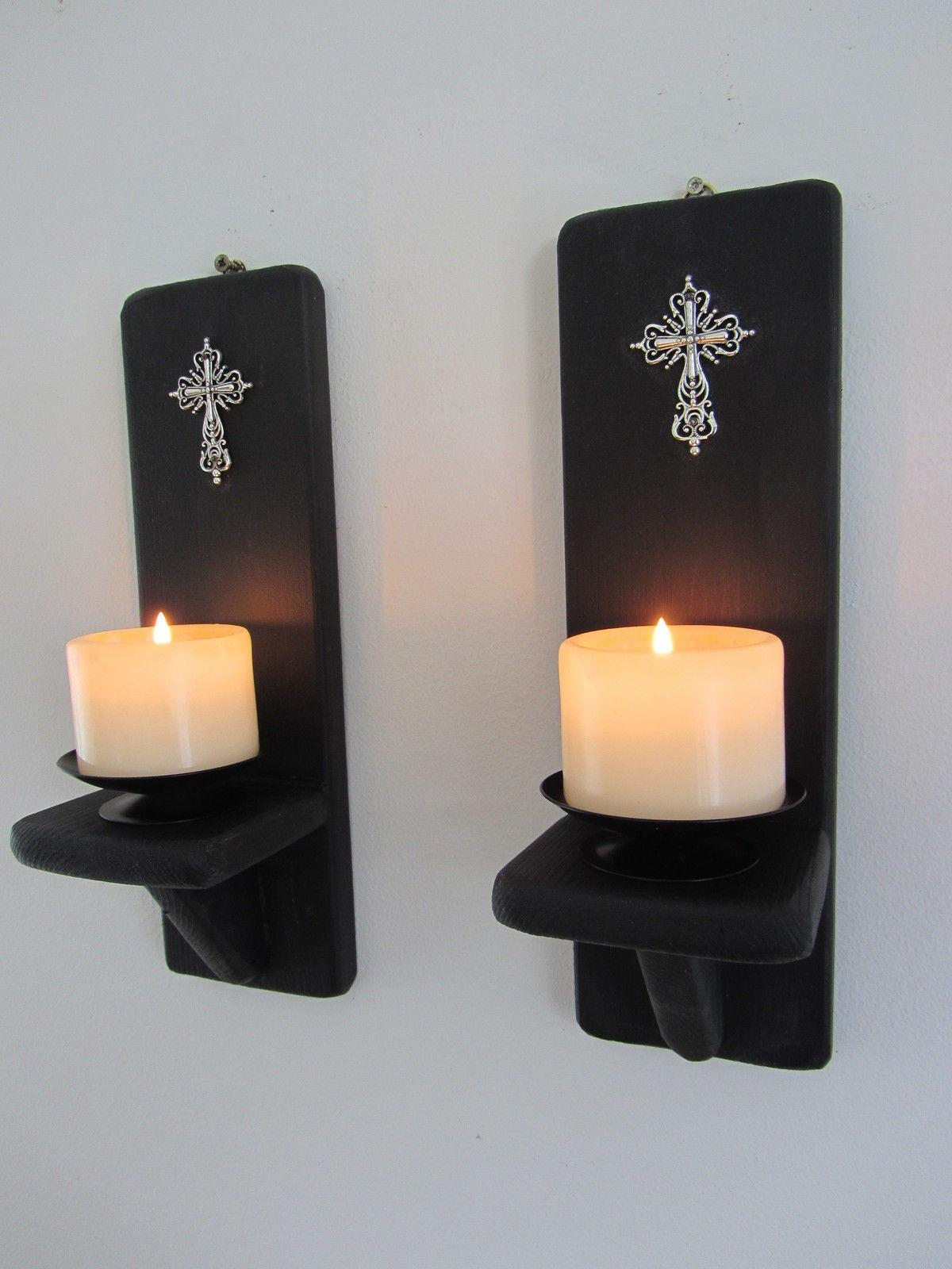 Pair Inch Matte Black Gothic Wall Sconce Candle