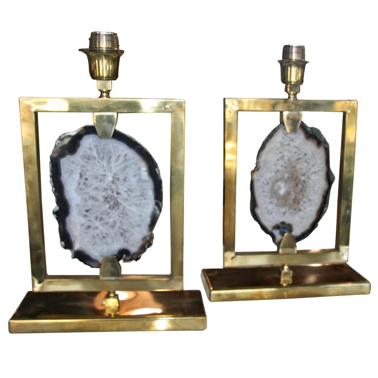 Pair Italian Brass Agate Lights Sale 1stdibs