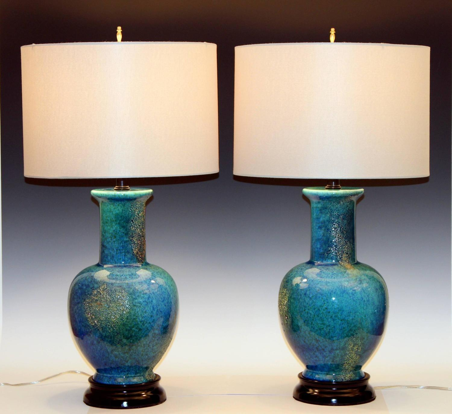 Pair Large Vintage Haeger Pottery Mottled Turquoise