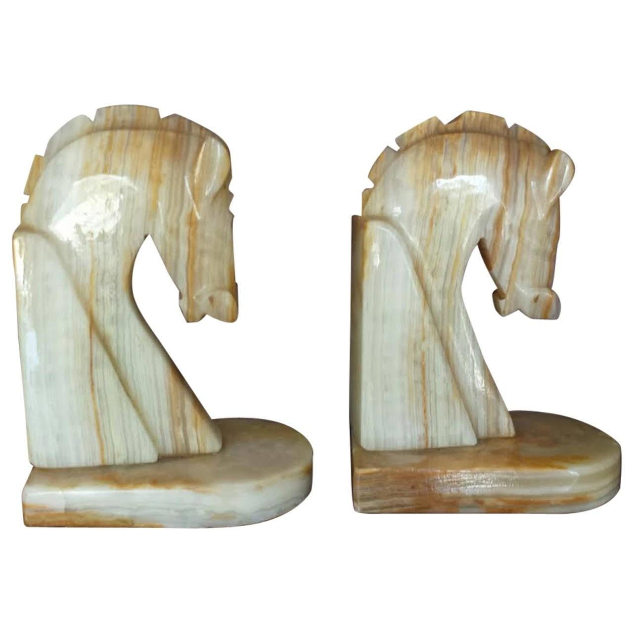 Pair Mid Century Onyx Horse Head Decorative Bookends