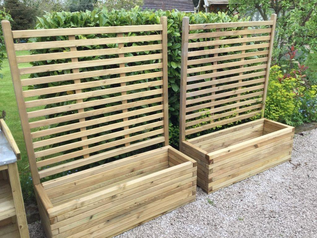 Pair Patio Planters Trellis New Tarporley