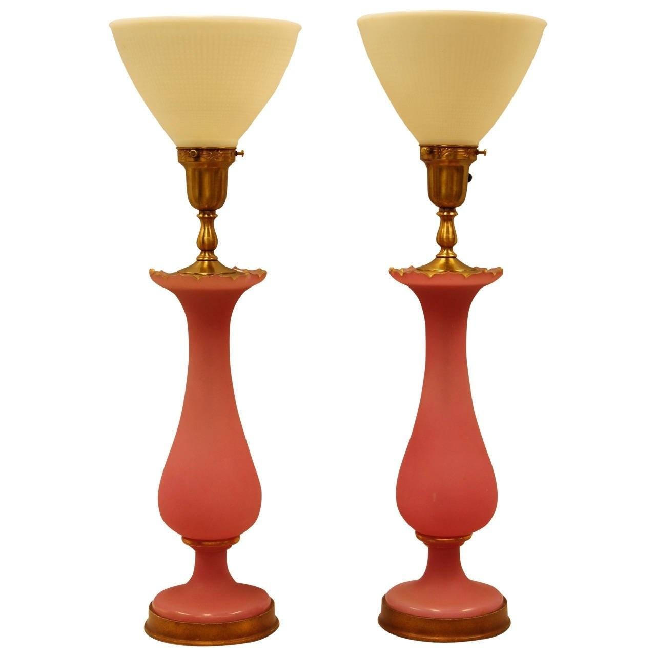 Pair Pink Opaline Satin Glass Vases Wired Lamps