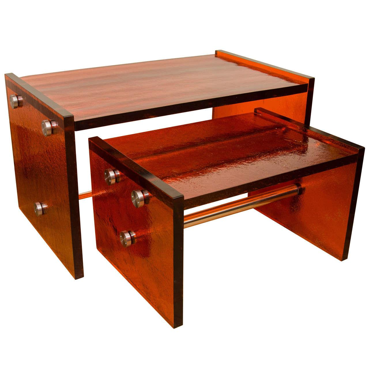 Pair Rectangular Orange Glass Nesting Tables
