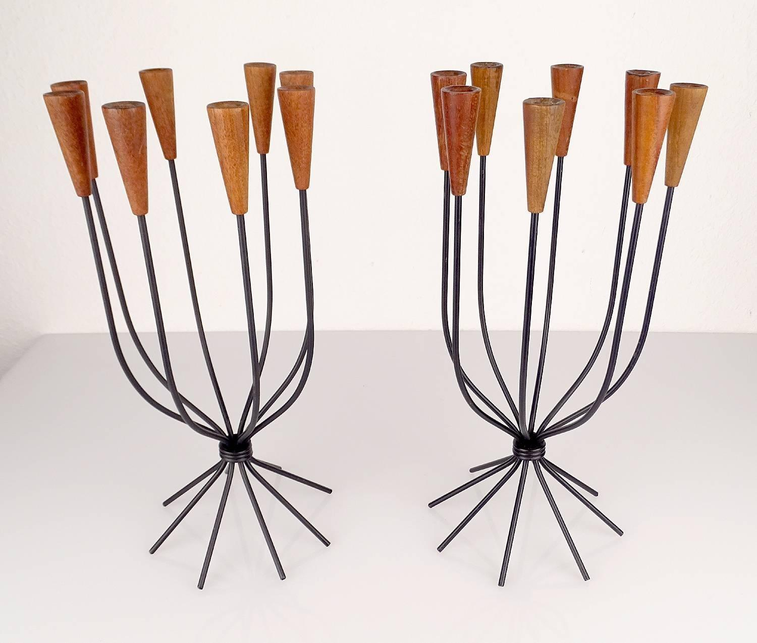 Pair Sculptural Danish String Design Teak Candlesticks