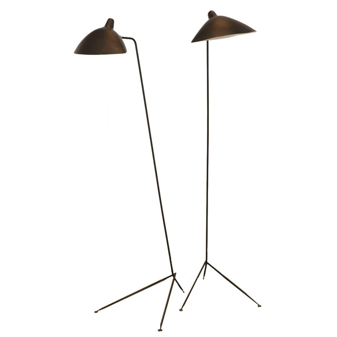 Pair Serge Mouille One Armed Floor Lamps France