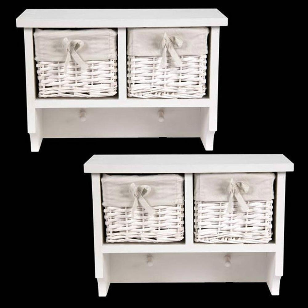 Pair Shabby Chic White Wall Shelves Coat Hooks Wicker