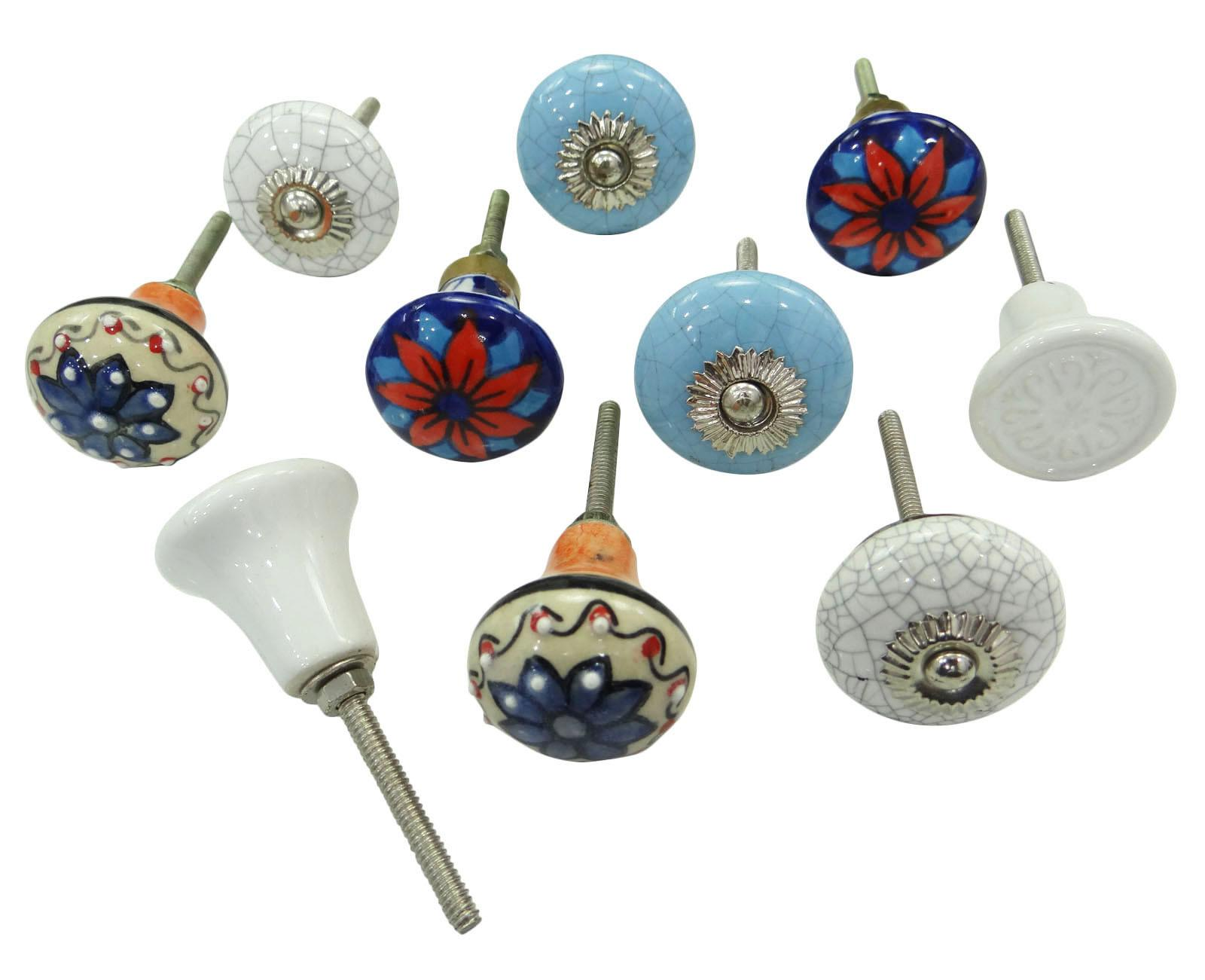 Pair Vintage Hand Painted Ceramic Knobs Kitchen Cabinet