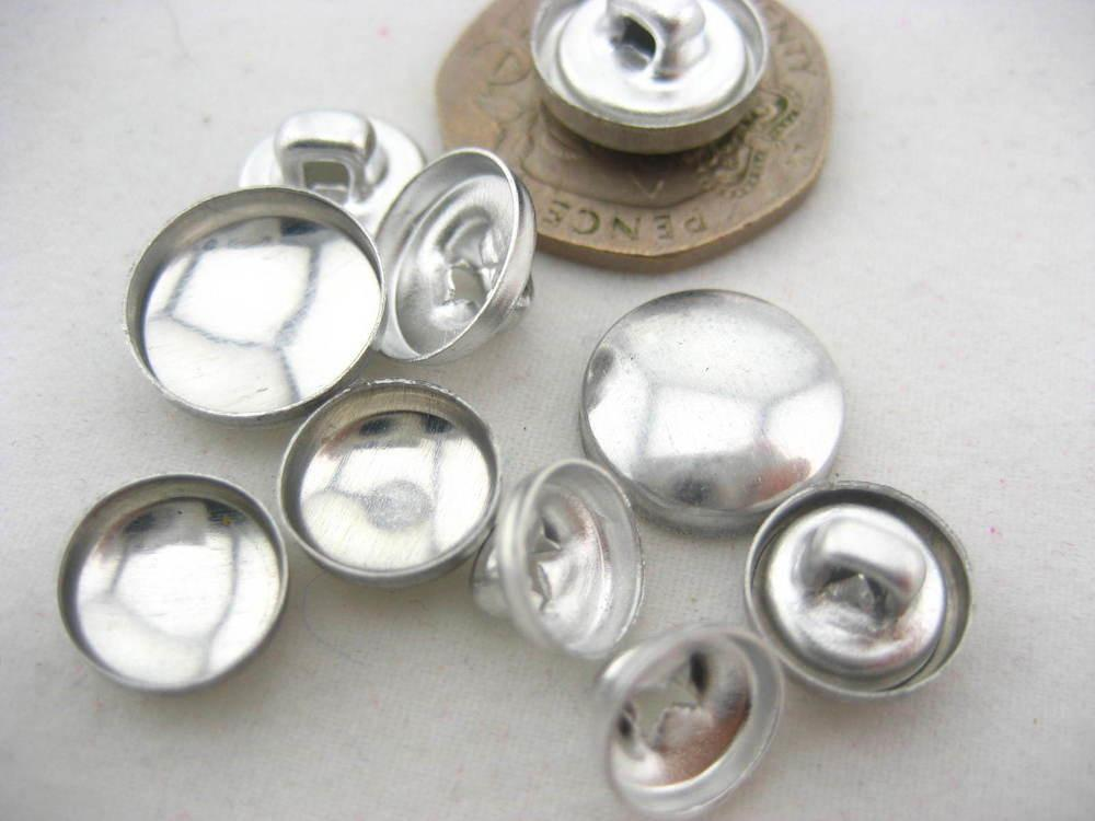Pairs Fabric Self Cover Buttons Aluminum Flat Ring Back
