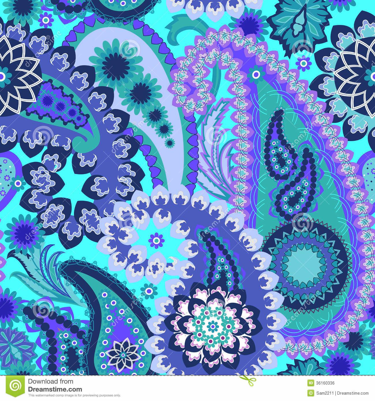 Paisley Colorful Royalty Stock