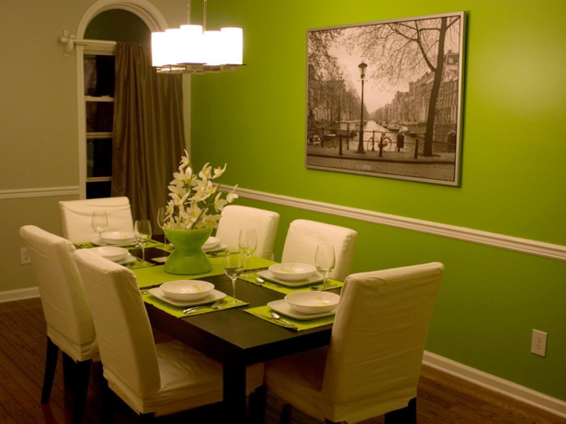 Palatial Lime Green Dining Room Wall Painted Color Schemes