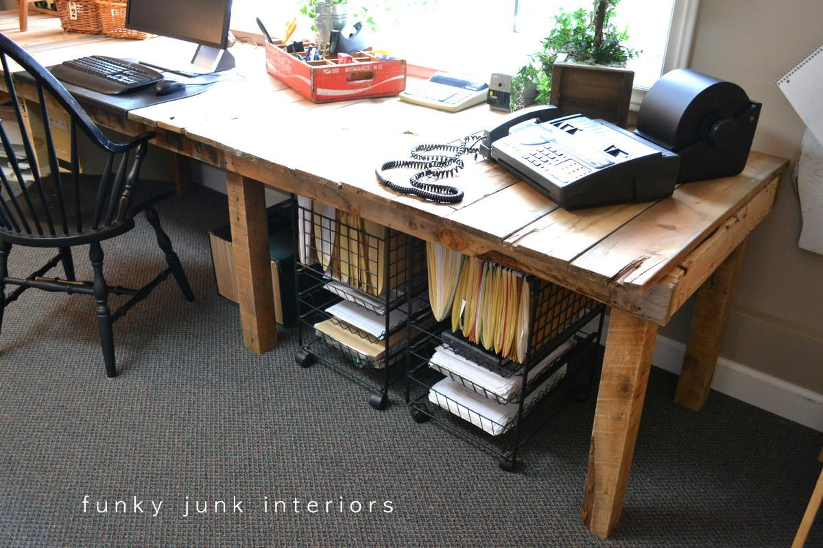 Pallet Farm Table Desk Part Reveal Funky Junk