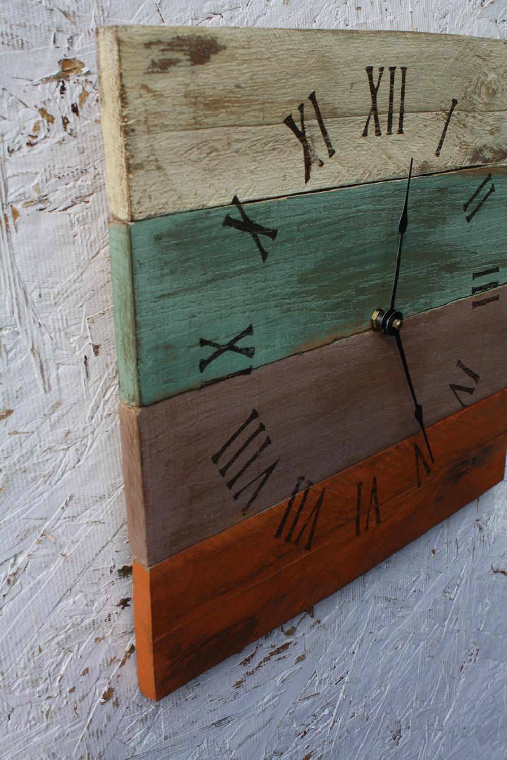 Pallet Wood Clock Beach House Style Recycled