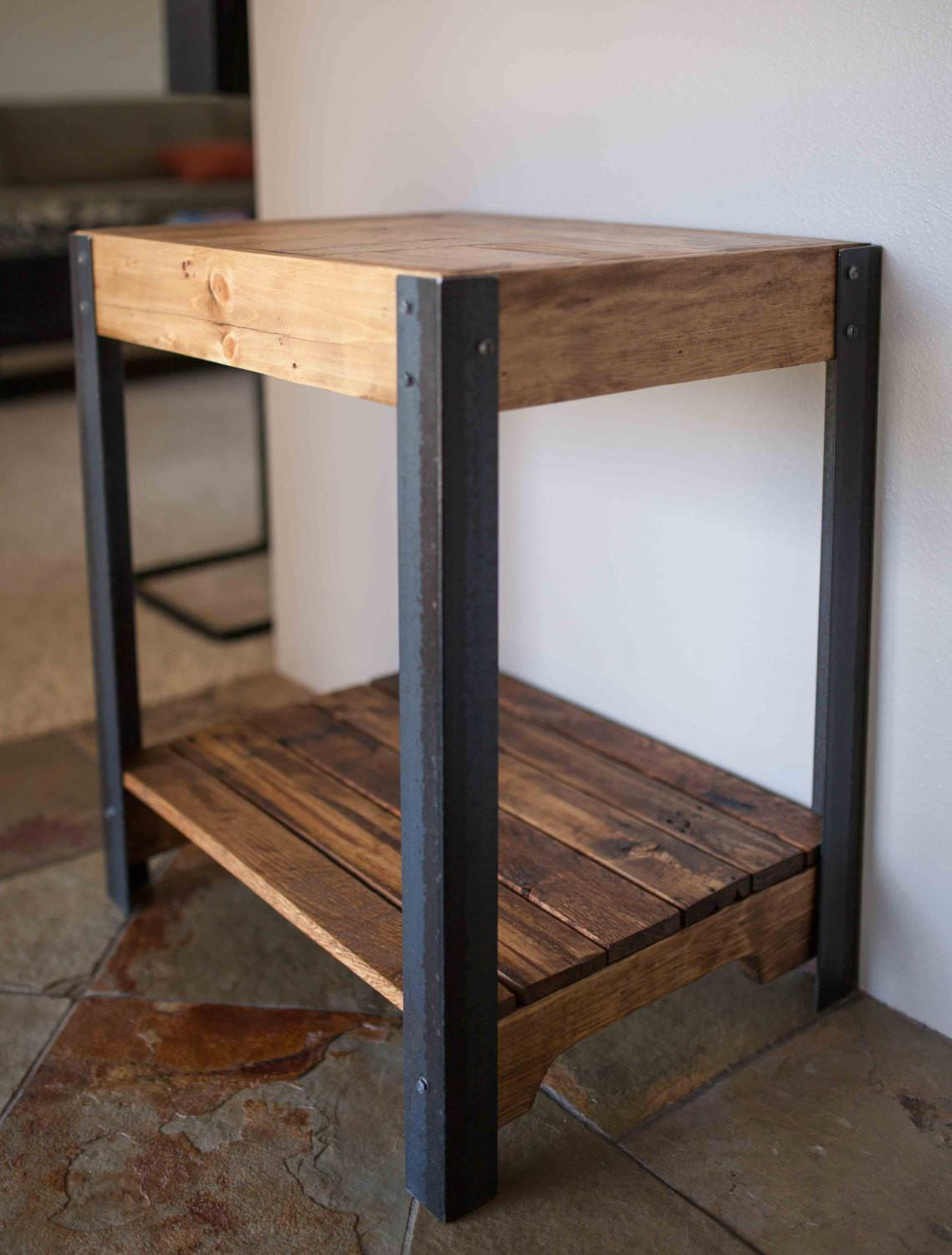 Pallet Wood Side Table Metal Legs Lower Shelf