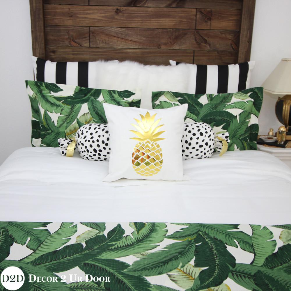 Palm Leaf Black White Stripe Custom Designer Apartmen