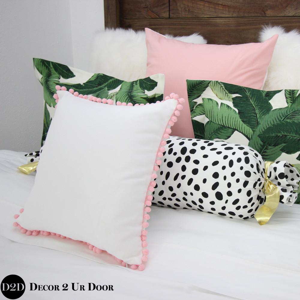Palm Leaf Pink Custom Apartment Designer Bedding Colle