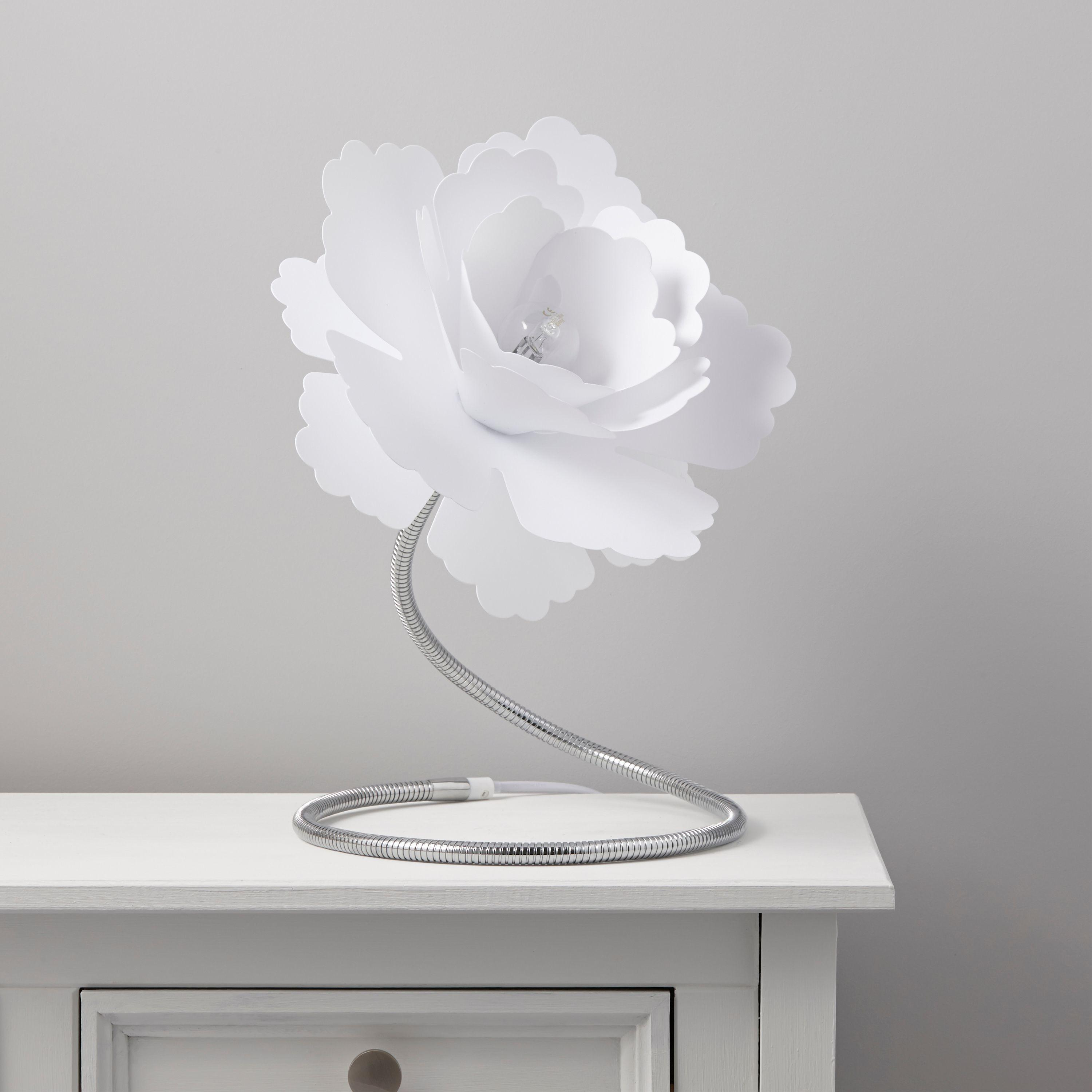 Paloma Flower White Table Lamp Departments Diy