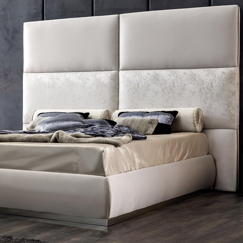 Panel Upholstered Bed Tall Headboard