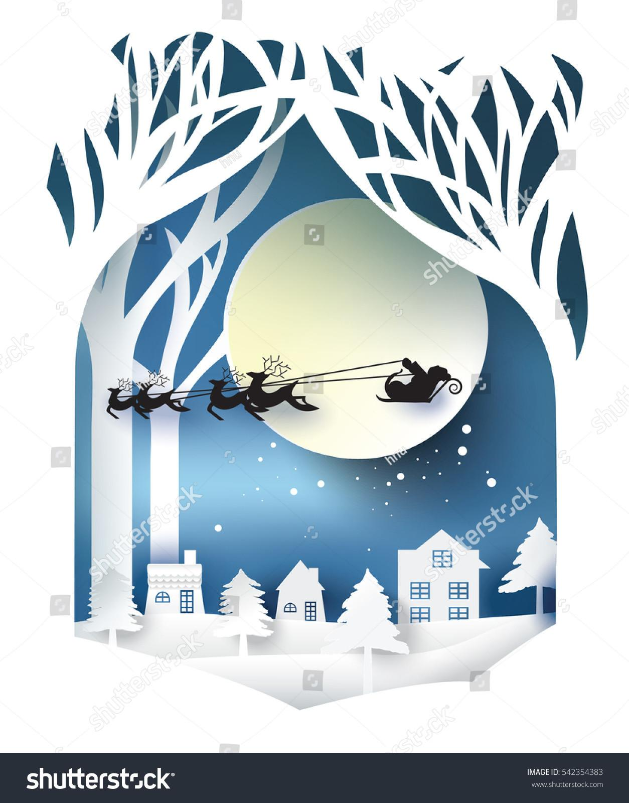 Paper Art Landscape Christmas Happy New Stock Vector