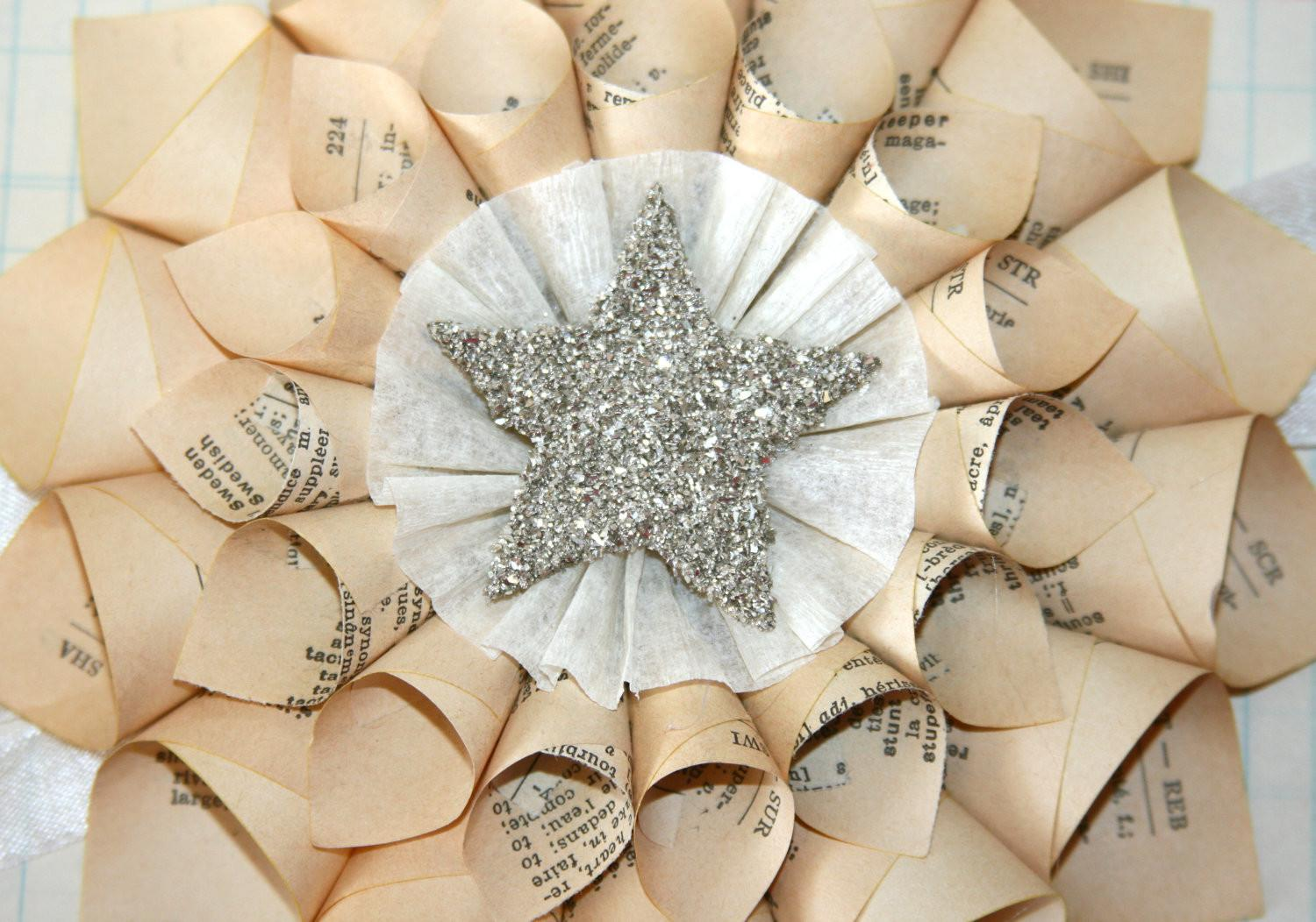 Paper Cone Wreath Vintage French Dictionary Pages Genuine