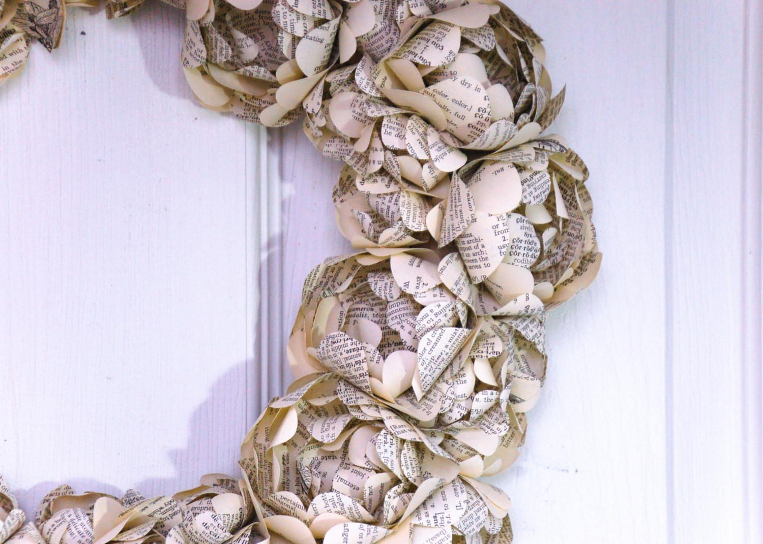 Paper Flower Wreath Made Recycled Book