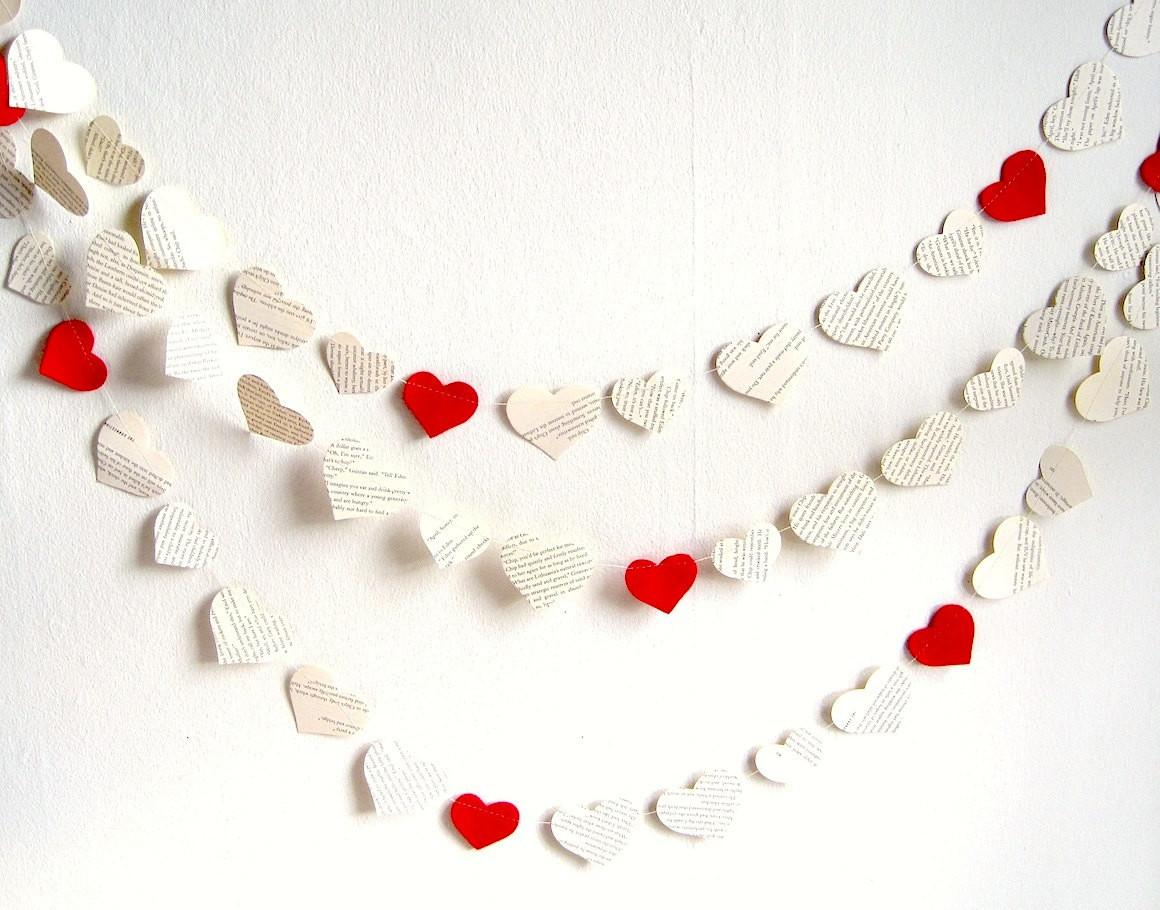 Paper Heart Garland Decor Book Hearts Bridal