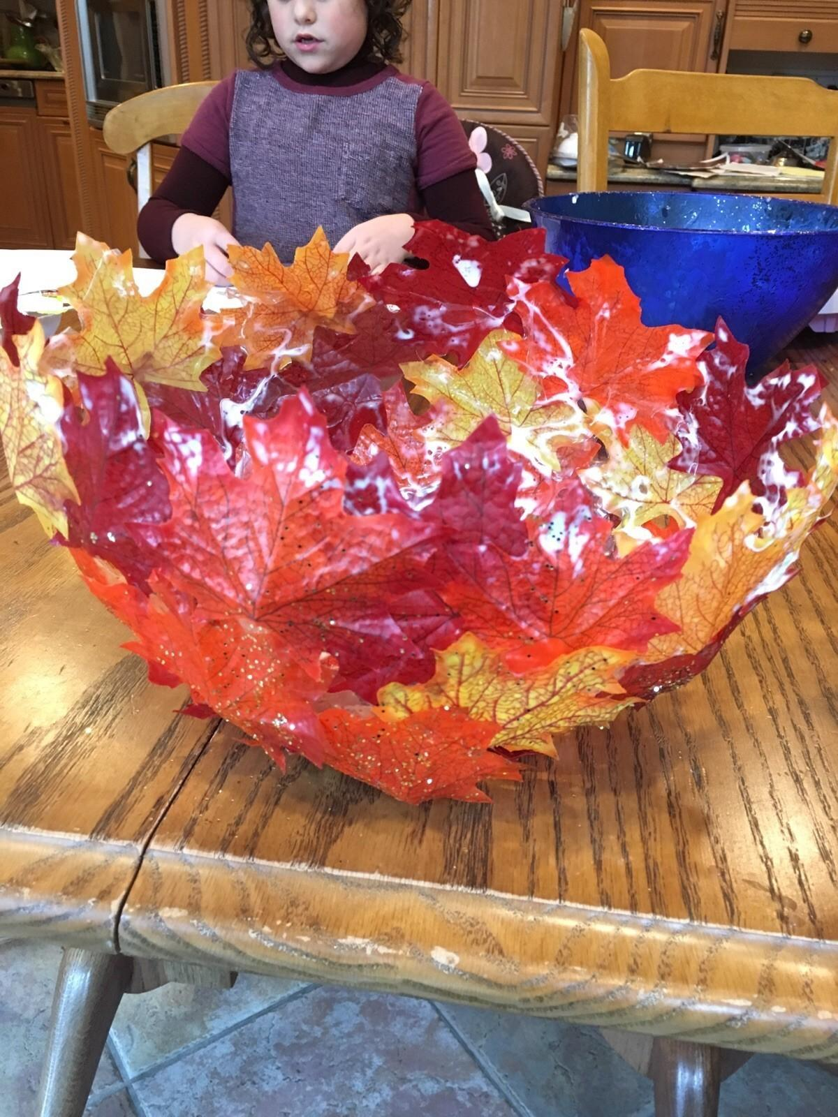Paper Mache Bowls Fall Leaves