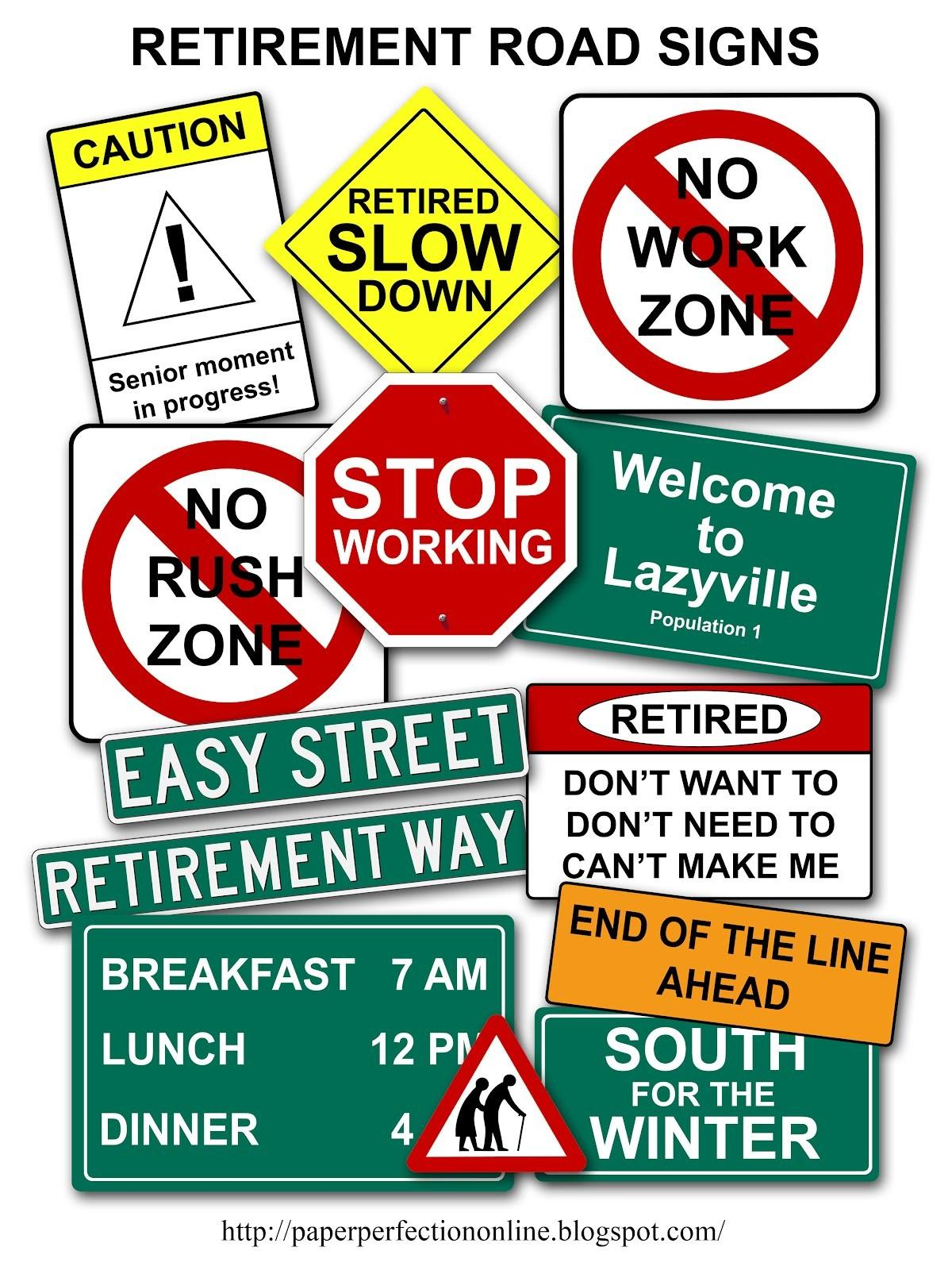 Paper Perfection Retirement Road Signs