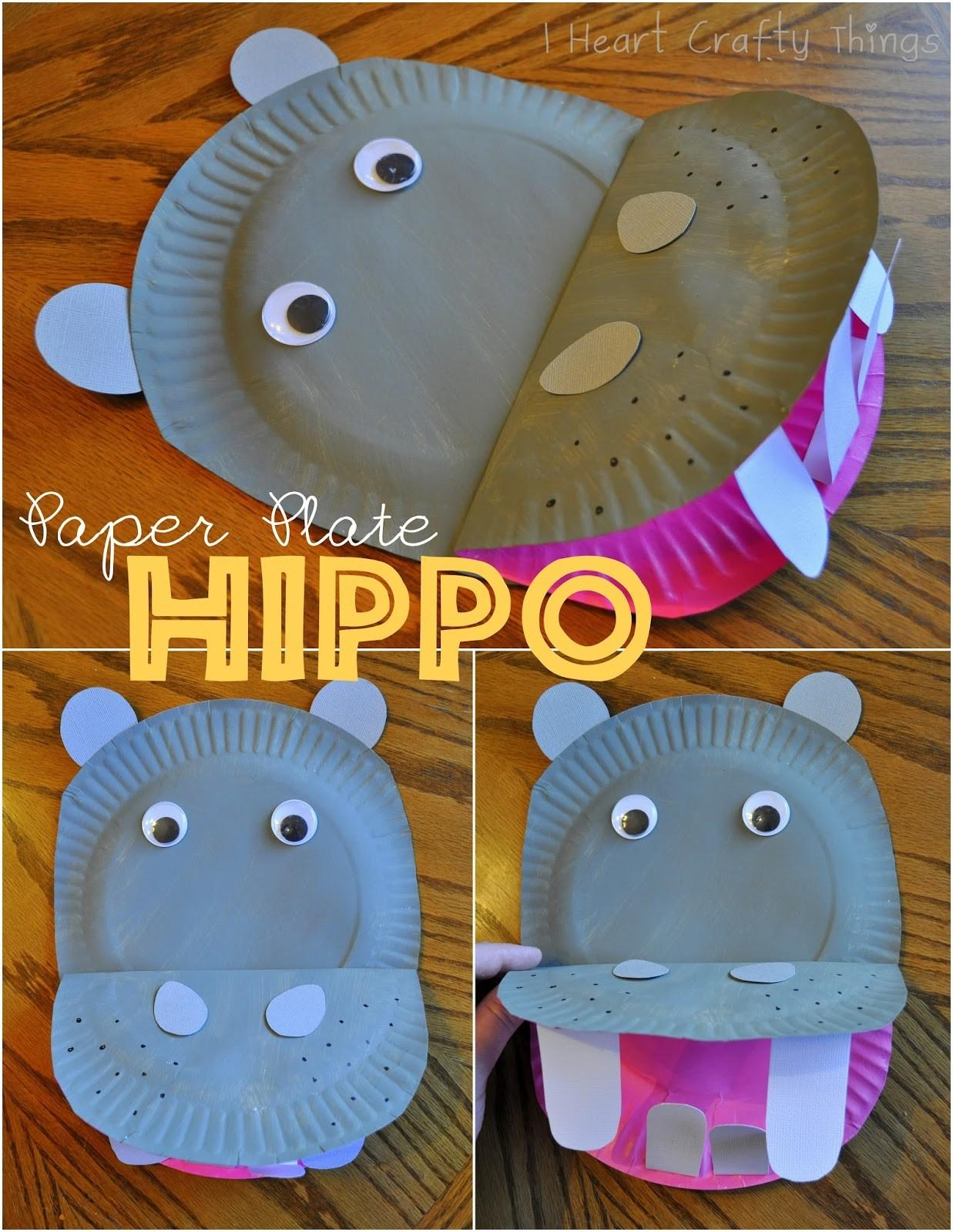 Paper Plate Hippopotamus Heart Crafty Things