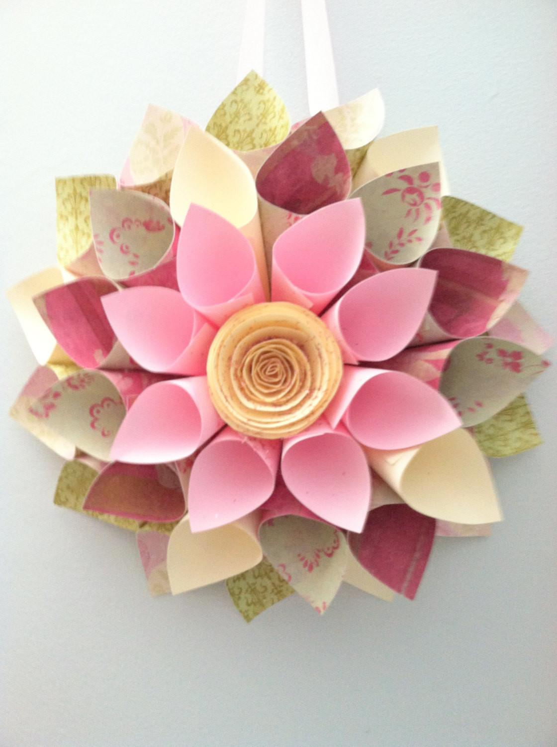 Paper Wreath Crafting Spring Summer Wall