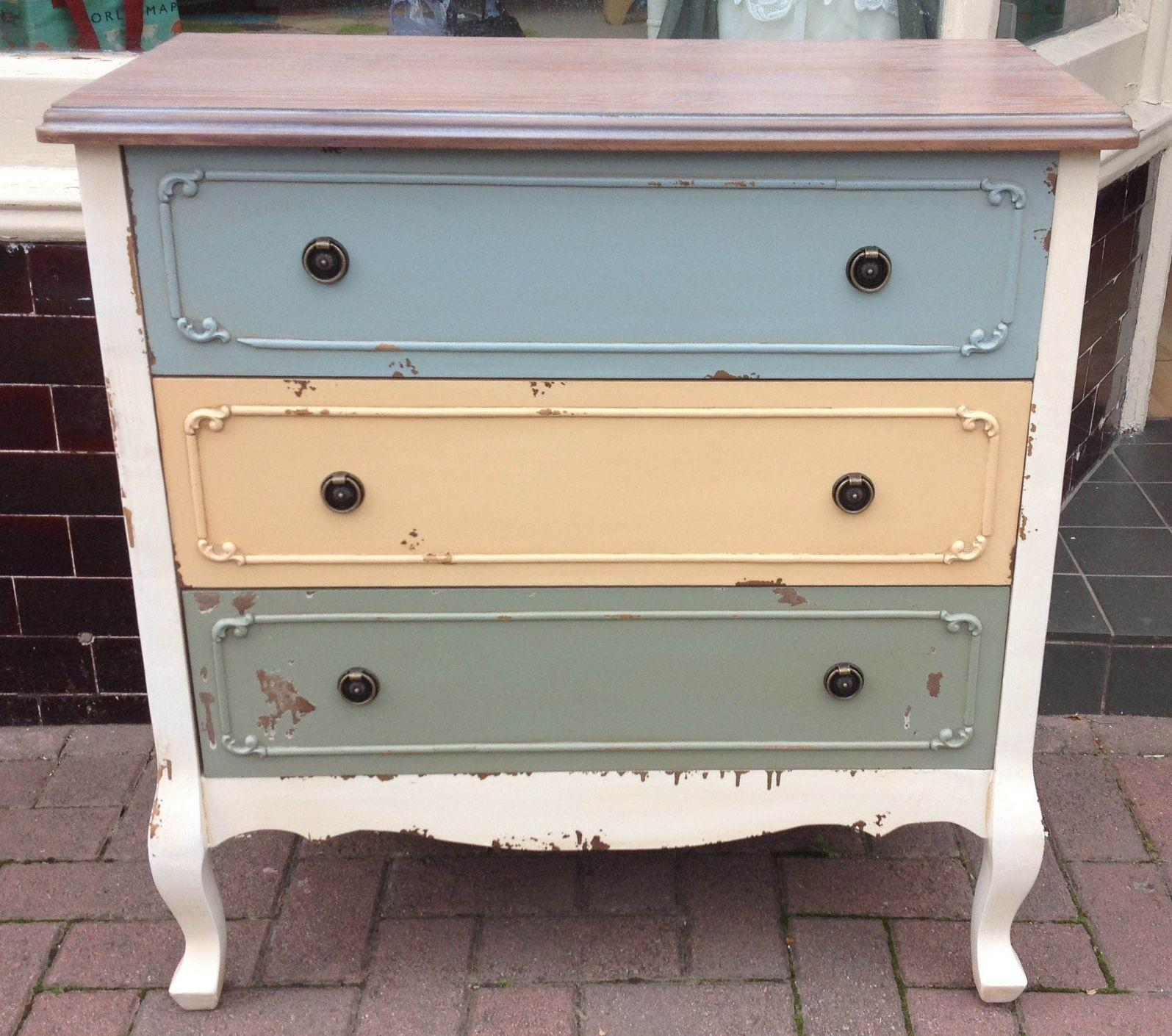 Paris Coloured French Rustic Chest Drawers