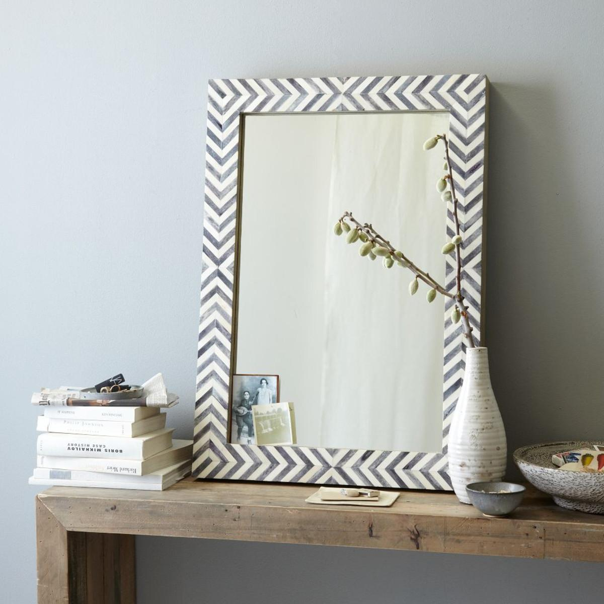 Parsons Wall Mirror Grey Herringbone West Elm