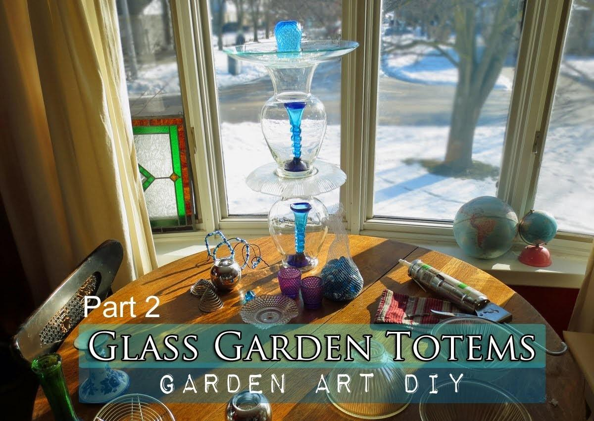 Part Make Glass Garden Art Totem Bird