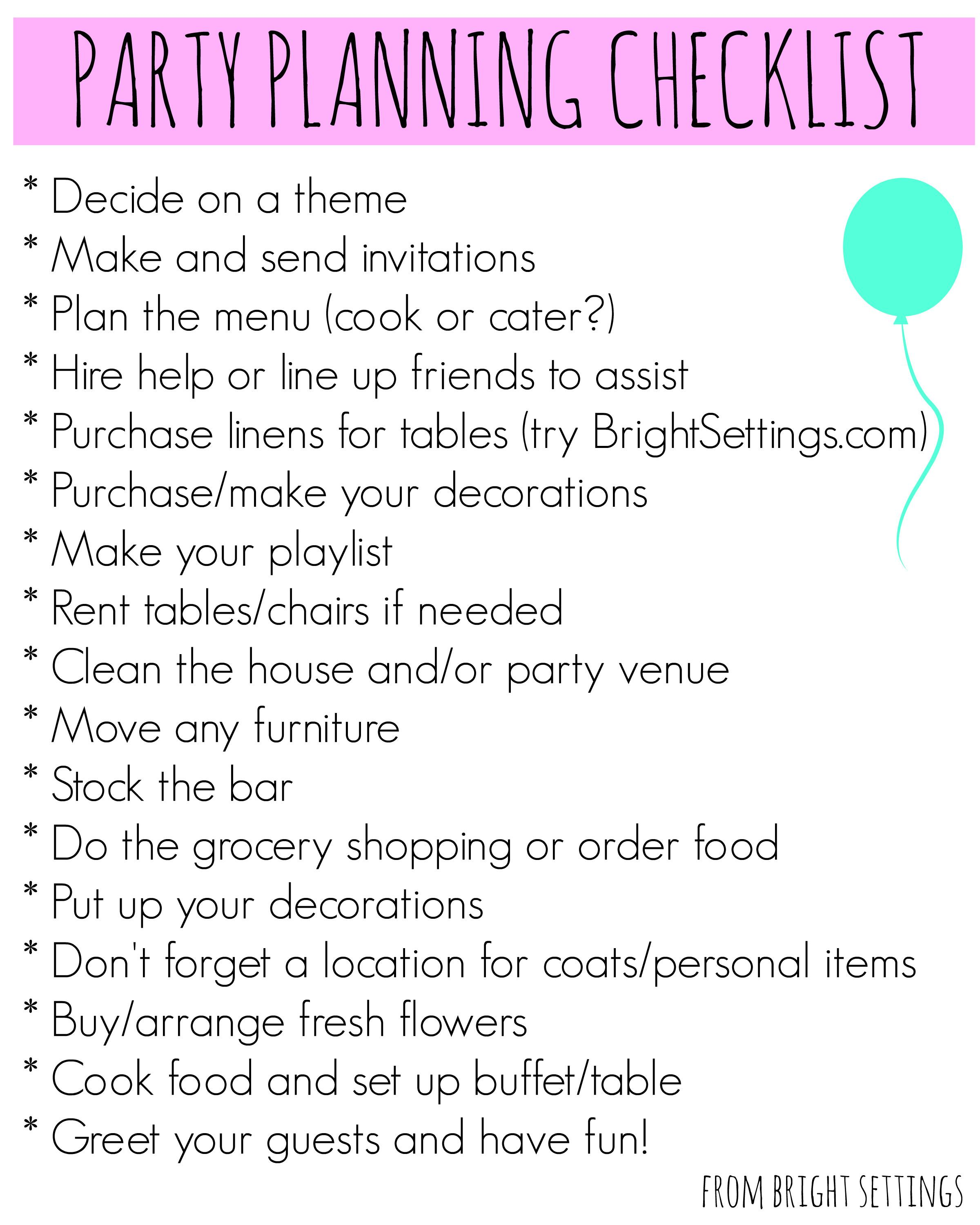 Party Planning Checklist Bright Ideas Blog