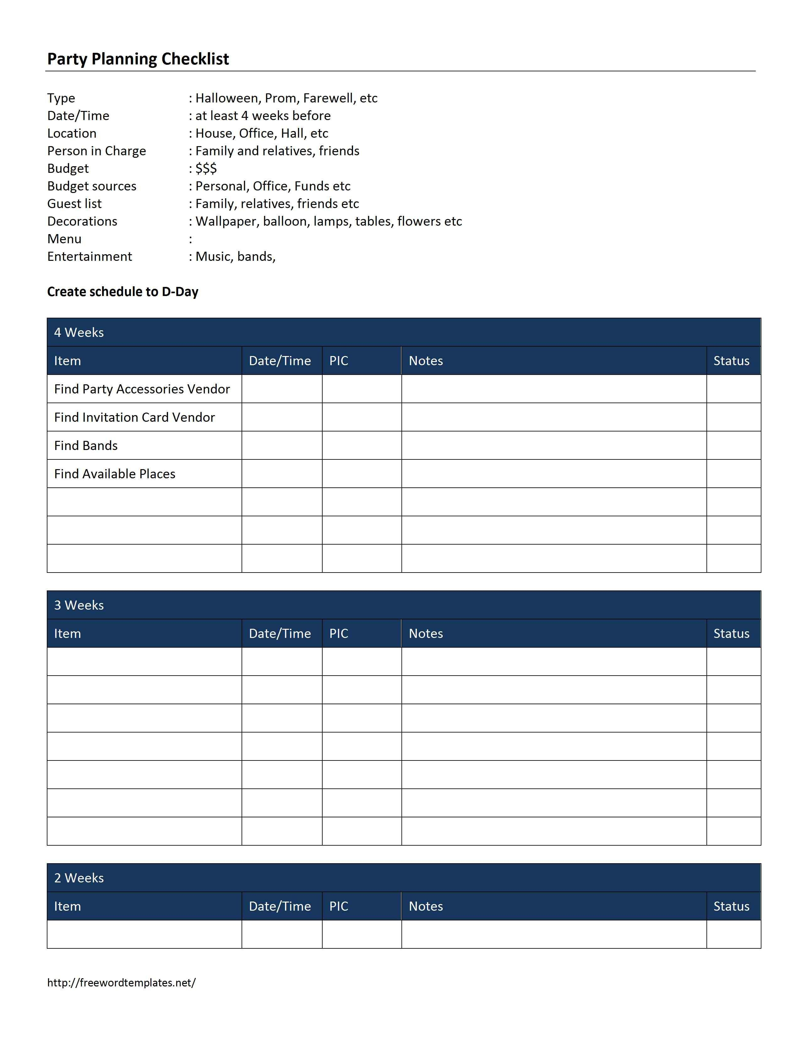 Party Planning Checklist Template Microsoft Word
