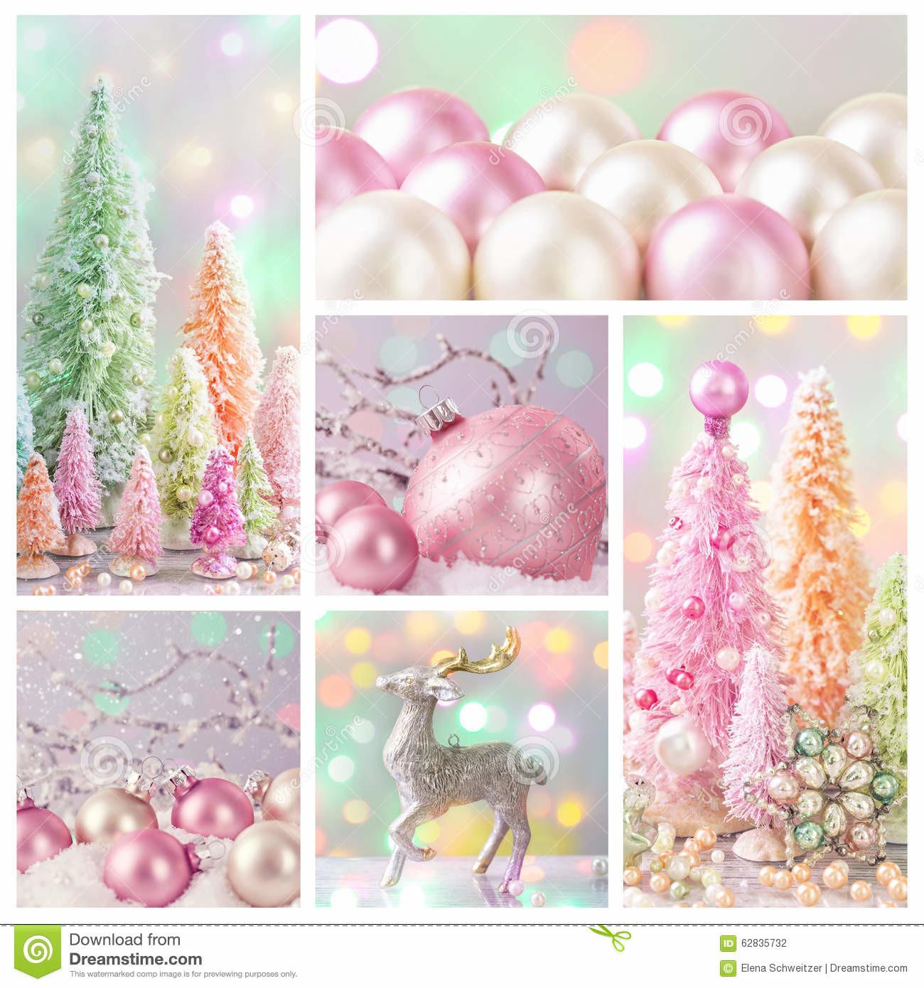 Pastel Colored Christmas Decoration Stock