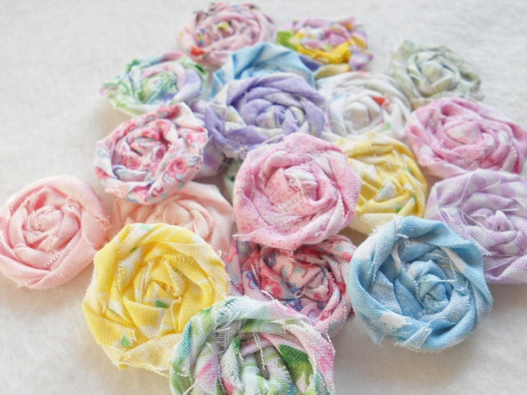 Pastel Fabric Flowers Easter Wedding Roses Rolled Applique