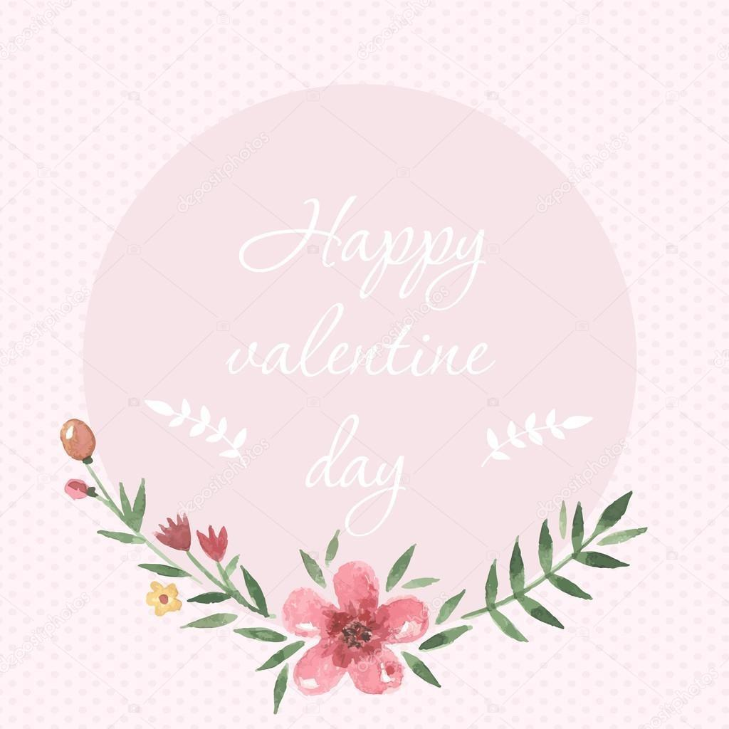 Pastel Hand Drawn Watercolor Happy Valentine Day Card