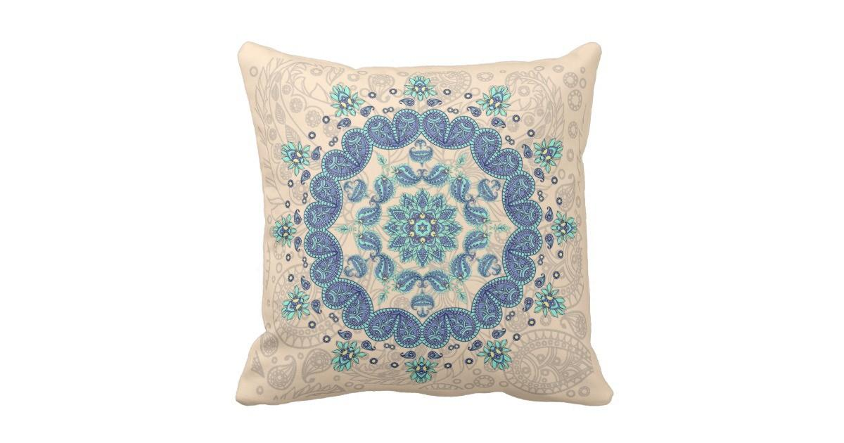 Pastel Paisley Kaleidoscope Throw Pillow Zazzle