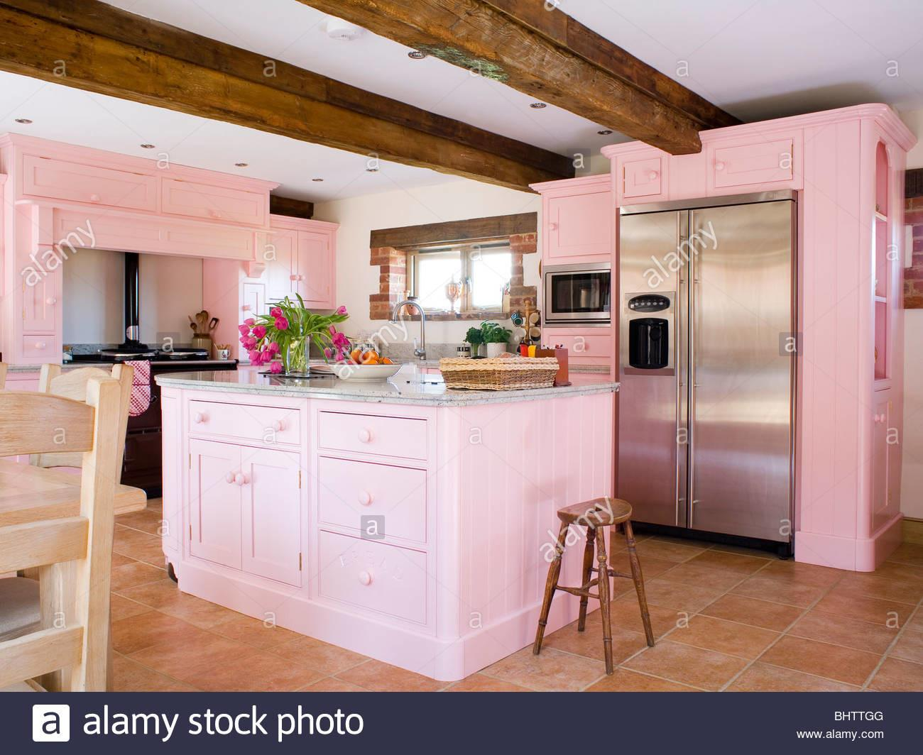 Pastel Pink Fitted Units Island Unit Country