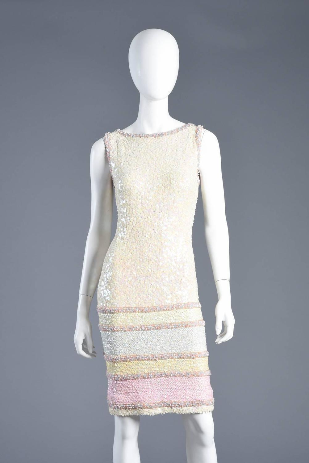 Pastel Striped Sequin Encrusted Knit Wool Cocktail Dress