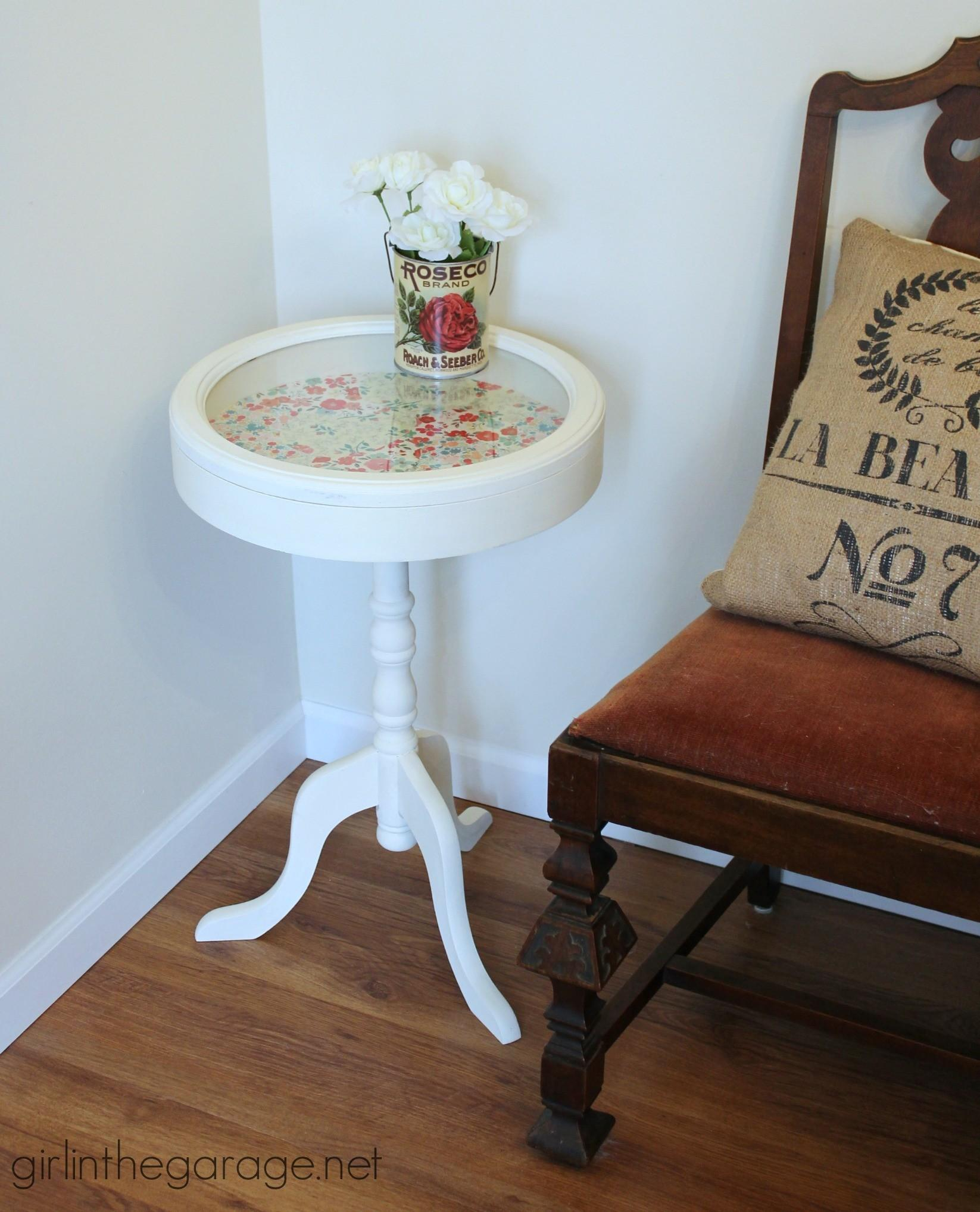 Patchwork Decoupage Table Makeover Girl Garage