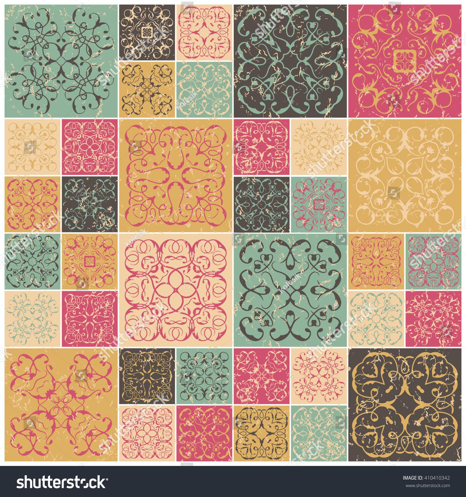 Patchwork Design Colorful Square Tiles Floral