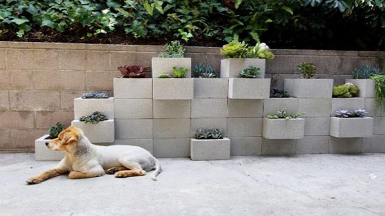 Patio Block Designs Outdoor Wall Planters Diy Cinder