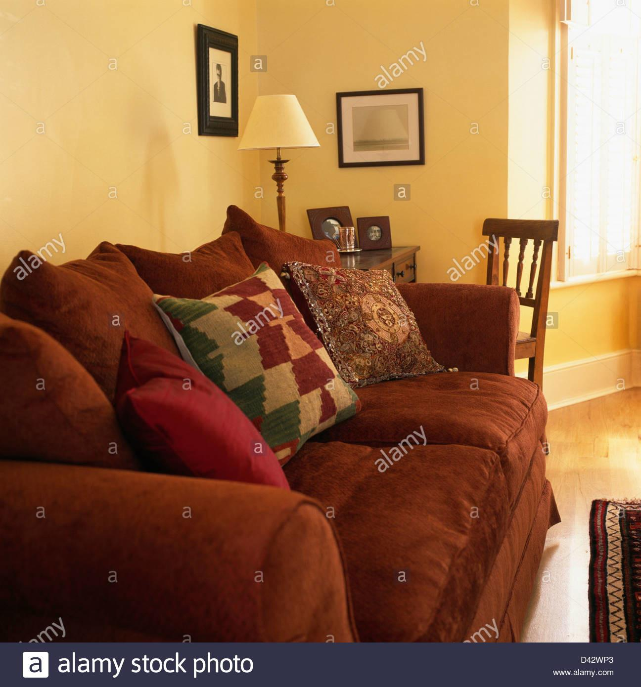 Patterned Cushions Rust Colored Sofa Traditional