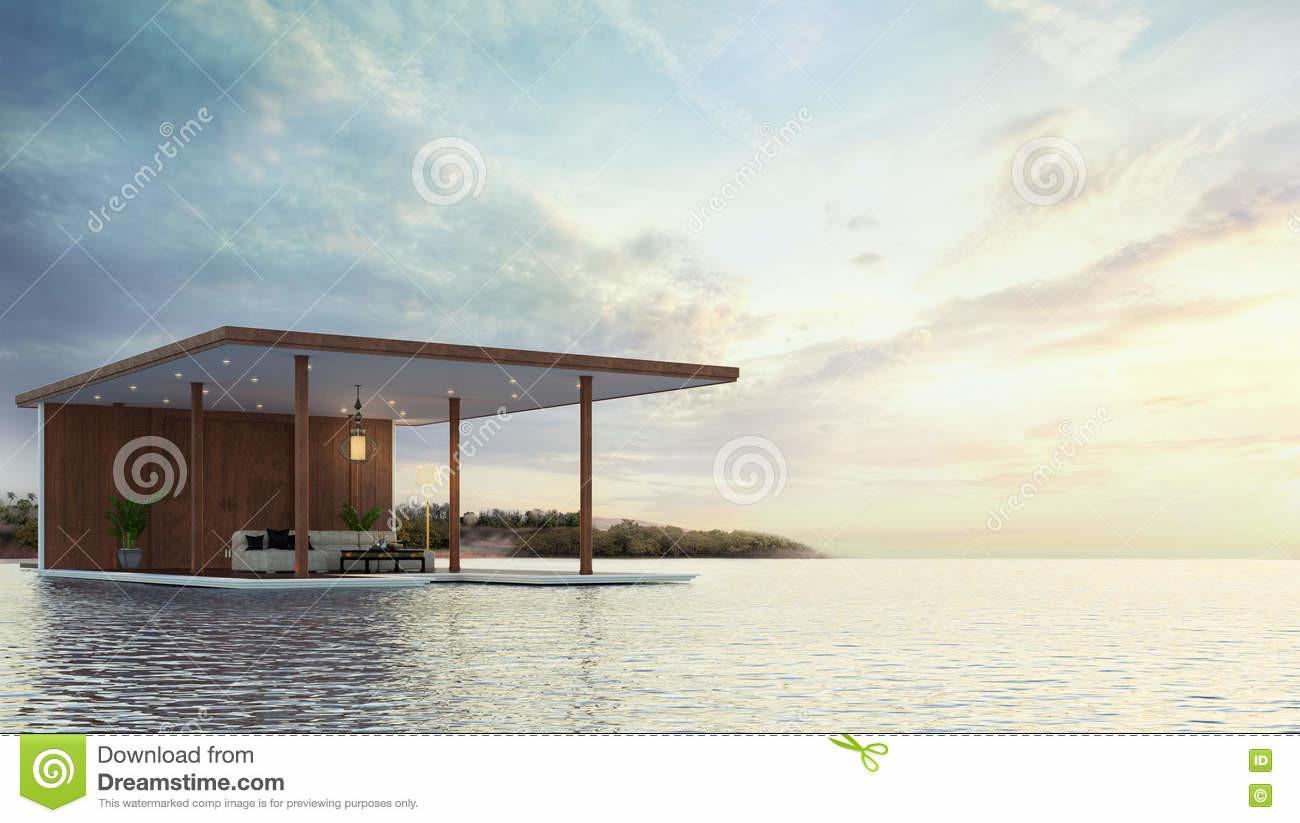 Pavilion Contemporary Beach Rendering Stock
