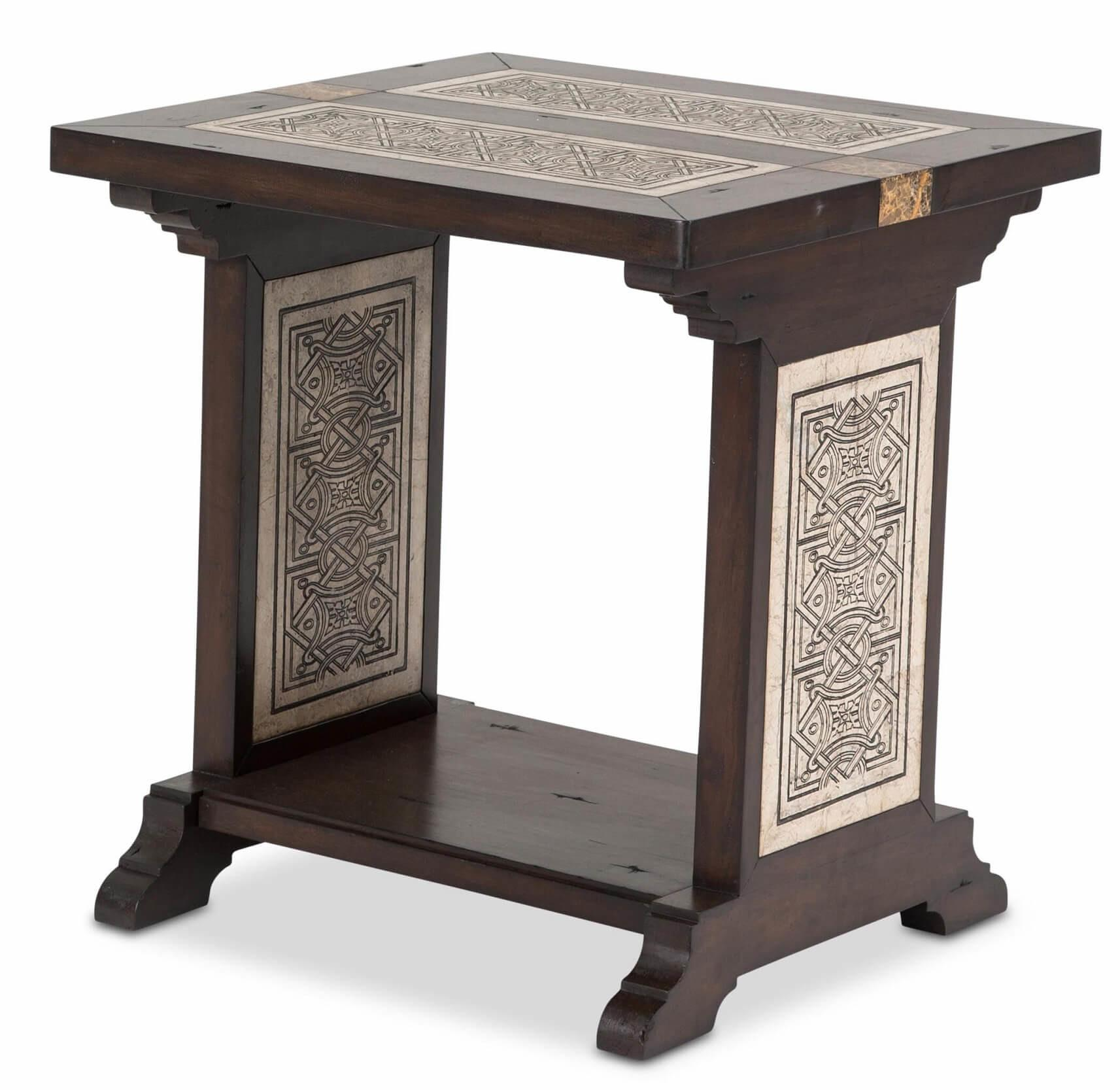 Paz Square End Table Stone Etched Inlay Aico
