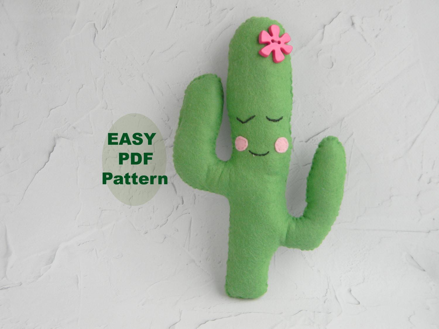 Pdf Cactus Pillow Hand Sewing Pattern Felt